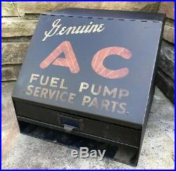 Vtg 1950s AC Fuel Pump Service Cabinet Display With Parts GM Detroit Flint MI