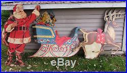 Vtg 1950s Christmas Dept Store Display Plywood Santa Reindeer HUGE RARE