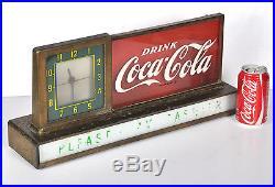 Vtg 1950s Light Up Coca Cola Clock Advertising Display Sign Diner Drug Store