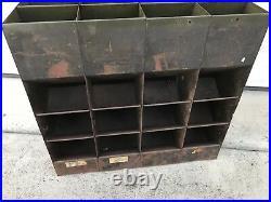 Vtg 40s Metal Bolt Gravity Feed 12 Bin Hardware Store Display Industrial Cabinet