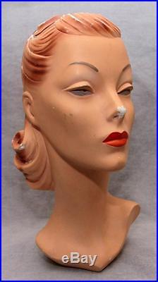 Vtg Antique 15 Woman's Head Mannequin Store Display 1930's-40's
