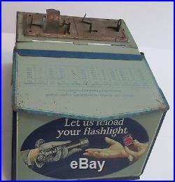 Vtg Eveready Mazda Flashlight Bulbs Metal Cabinet Display Adv Natl Carbon Co