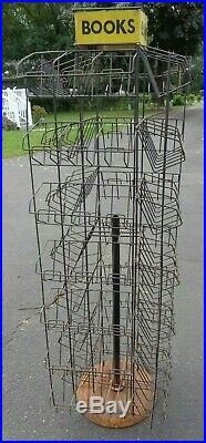 Vtg Metal BOOK Spinner Rack Store Newsstand Display Yellow Sign PICK UP NJ