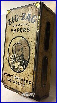 Vtg Zig Zag Cigarette Rolling Papers Store Dispenser Tin Display Advertising