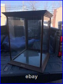 WOW vintage Oak table top country store display cabinet 25 sq x 32 glass shelf